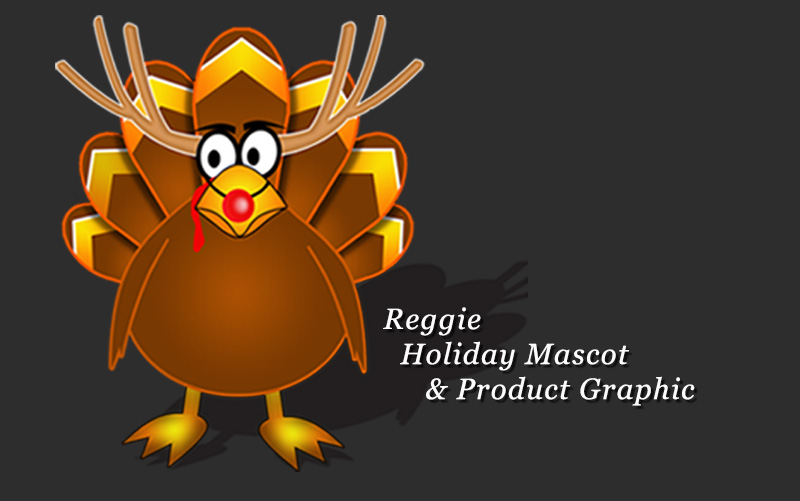 Reggie Holiday Mascot & Product Graphic