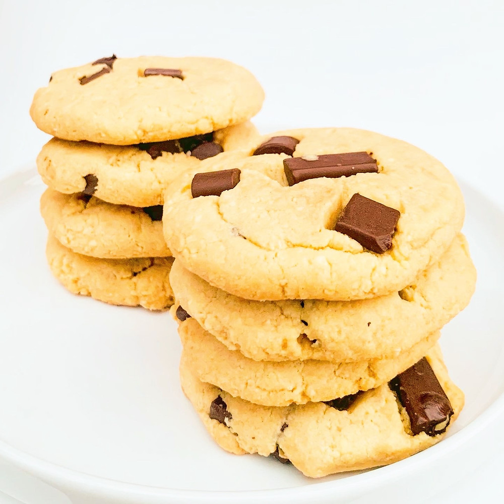 Stacked chocolate chunk cookies.