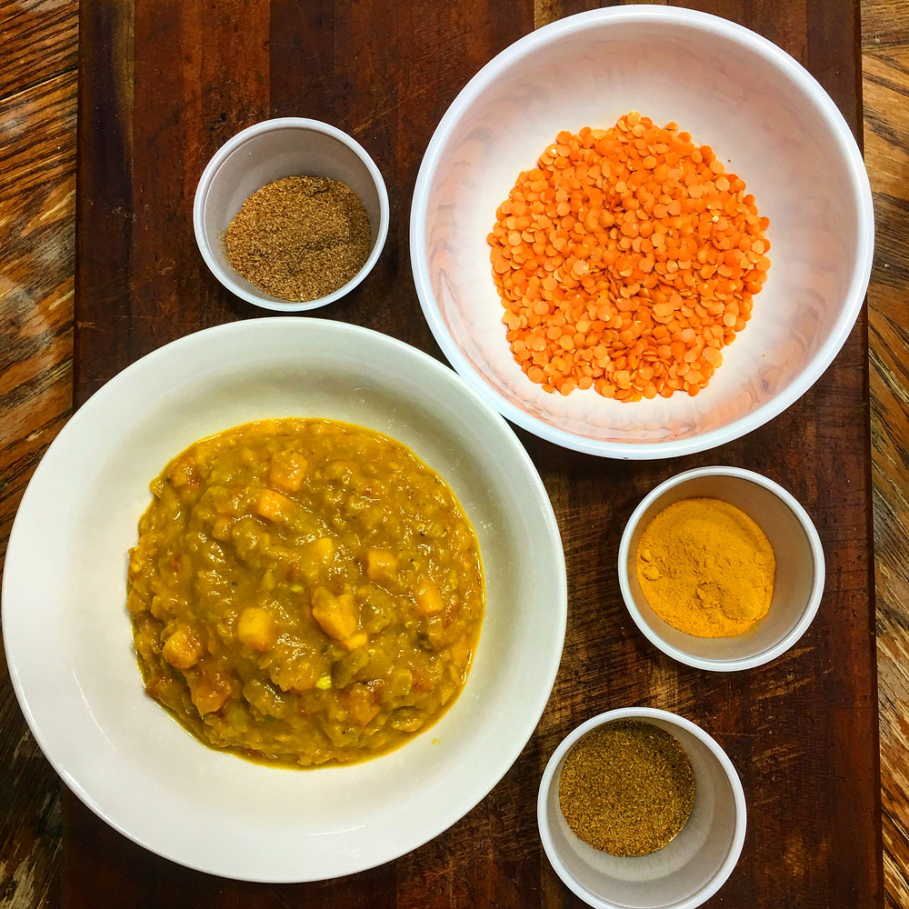 Spicy Red Lentils (cooked, uncooked and spices)
