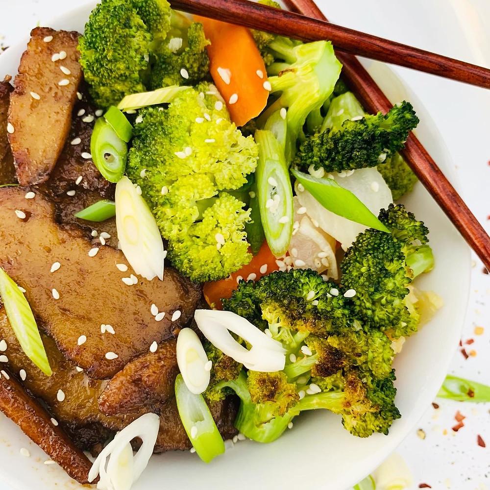 Mongolian Seitan and Broccoli