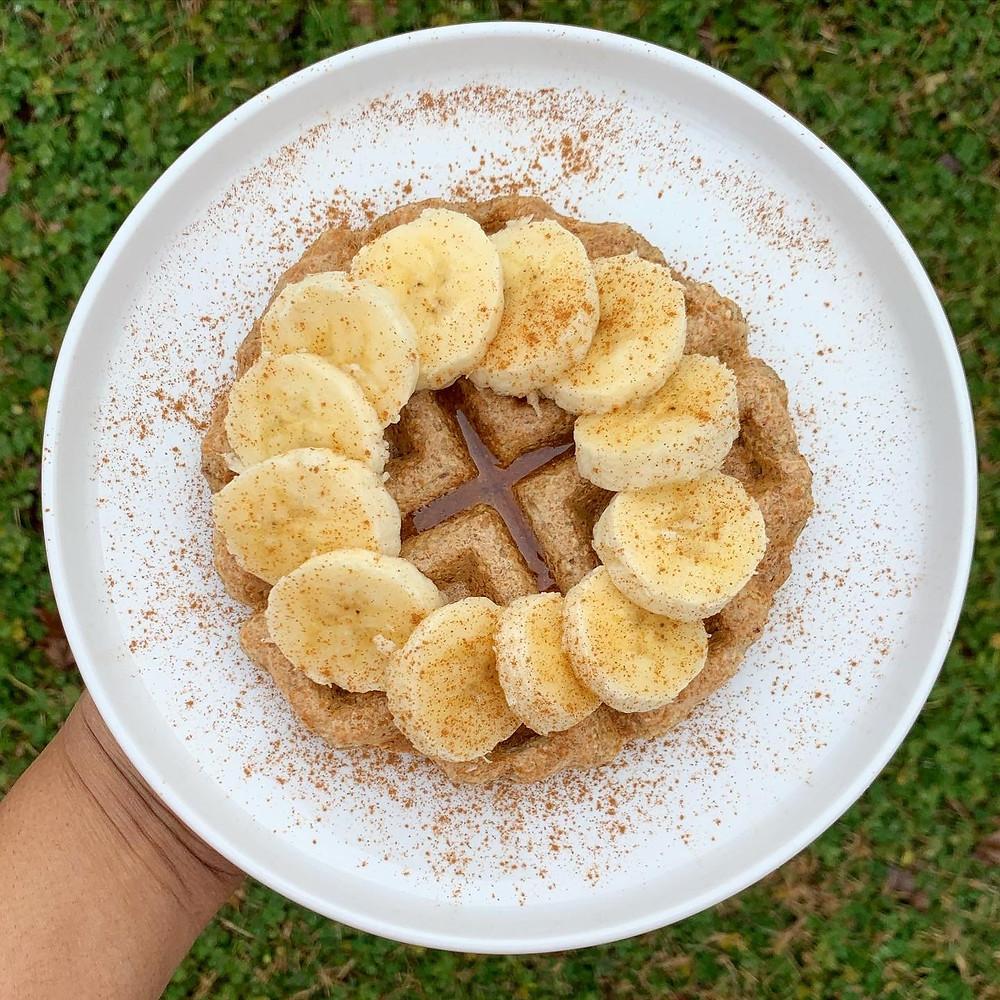 Hearty Banana Oat Waffles