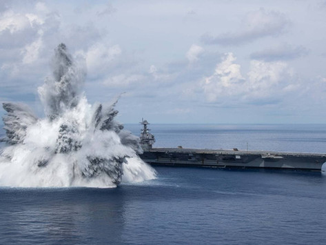 """The third, final part of the test for the """"stress resistance"""" of the hull, US Navy aircraft carrier"""
