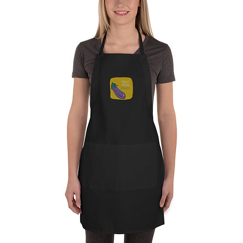 Feed Them Eggplants Embroidered Apron