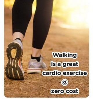 Walking is a great cardio exercise at zero cost