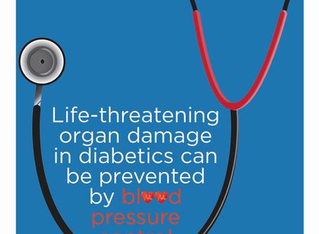 In diabetes, help prevent organ damage by lowering BP
