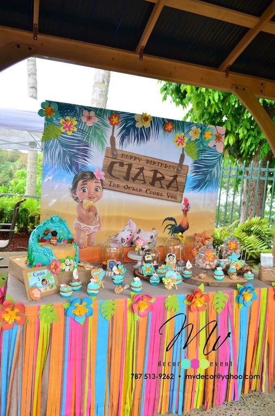 decoracion de fiestas infantiles, mesa dulce vaiana, mesa dulce moana, mesas dulces para fiestas infantiles, pasteles originales para cumpleaños, pastel vaiana