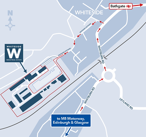 Map showing Whiteside Industrial Estate