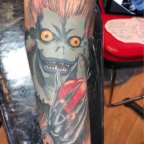 Death Note Shinigami Tattoo - Ryuk eating apple