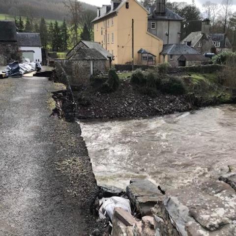 Flood damage at Abercamlais in 2019