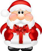 Cute_Santa_Claus_with_Gift_PNG_Clipart.p