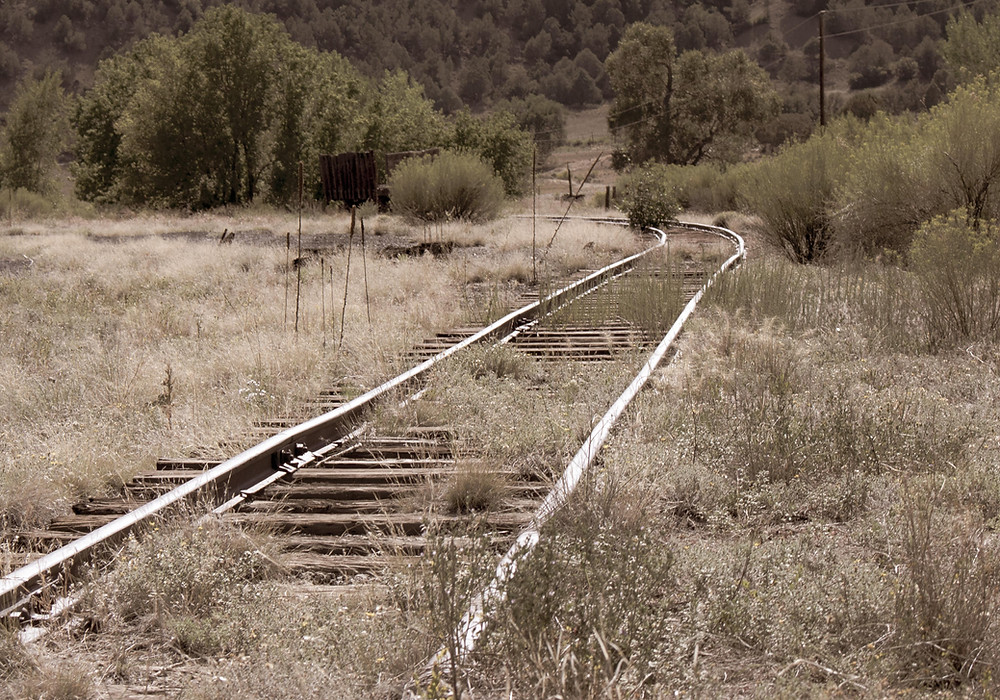 Abandoned railroad track in Pagosa Junction.