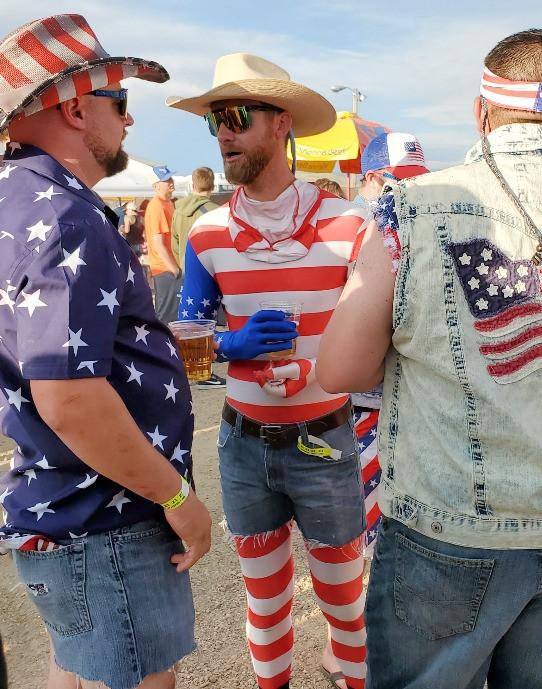Cowboy in stripes at demolition derby