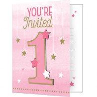 One Little Star Girl Invitations 1st Birthday