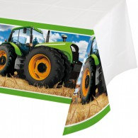 Tractor Time Tablecover Plastic Border Print 137cm x 259cm Each