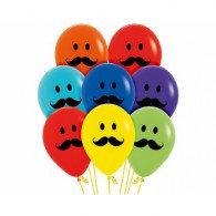 30cm Smiley Moustache Faces Pk 12