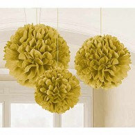 Fluffy Hanging Decorations Gold