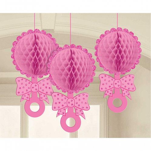 Pink Honeycomb Glittered Hanging Decoration