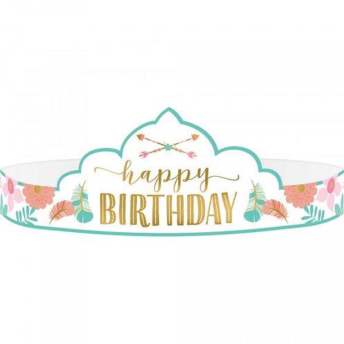 Boho Birthday Girl Tiara - Paper