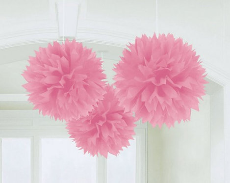 Fluffy Tissue Decorations - New Pink