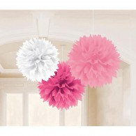 Fluffy Hanging Decorations Pink & White