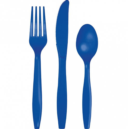 Cobalt Blue Cutlery Set Plastic