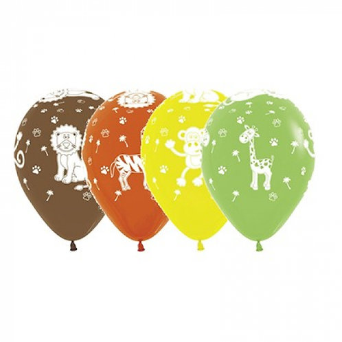 Sempertex 30cm Jungle Animals Fashion Assorted Latex Balloons, 12PK