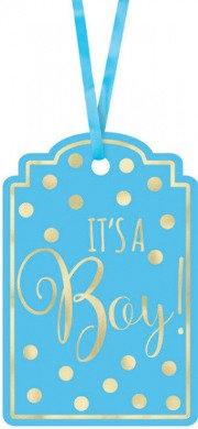 Foil-Stamped Paper Tags - Blue
