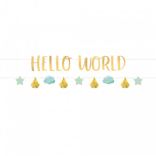 Oh Baby Boy Letter Banners Kit Hello World Cardboard & Foil 1.7m