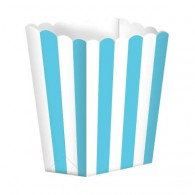Favor Party Boxes Robin's Egg Blue & White Stripes x 5