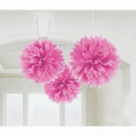 Fluffy Hanging Decorations Pink