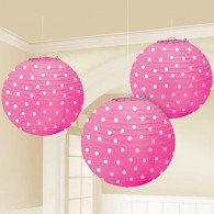 Lanterns Polka Dots, Bright Pink.