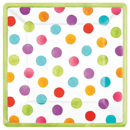 Watercolour Dot Pack 26cm x 18 Square Plates