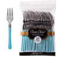 Forks Cutlery Set Caribbean Blue & Silver