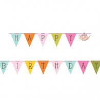 Tea Time Pennant Ribbon Banner Happy Birthday