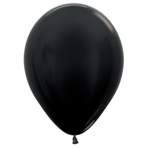 SEMPERTEX 30CM METALLIC BLACK LATEX BALLOONS
