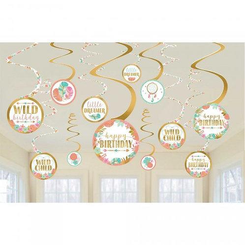 Boho Birthday Girl Spiral Decoration Value Pack