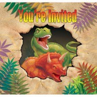 Dino Blast Invitations Gatefold You're Invited Diecut Pack of 8