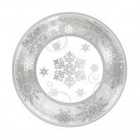 Christmas Silver Snowflakes Dinner Plate