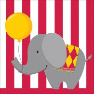 Circus Time Lunch Napkins (33cm x 33cm) 3 Ply Pack of 16