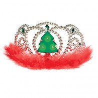 Tiara Light Up Flashing Christmas Tree with Red Feathers