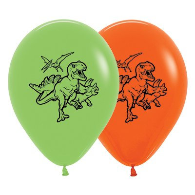 Sempertex 30cm Dinosaurs Theme Fashion Lime Green & Orange Latex Balloons, 25PK