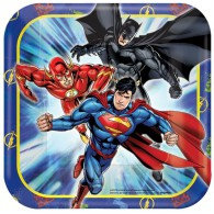 Justice League Dinner Plates Square 23cm Paper Pack of 8