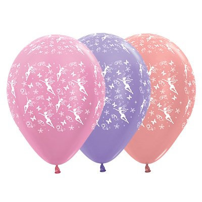 Sempertex 30cm Fairies Theme Satin Pearl Pink, Lilac & Metallic Rose Gold Latex
