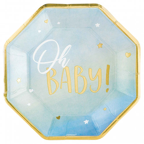 """Oh Baby Boy  26cm Shaped Plates Metallic set of 8"