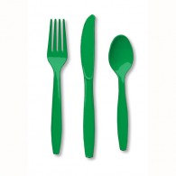 Emerald Green Cutlery Set Plastic Knives, Forks & Spoons Pack of 24