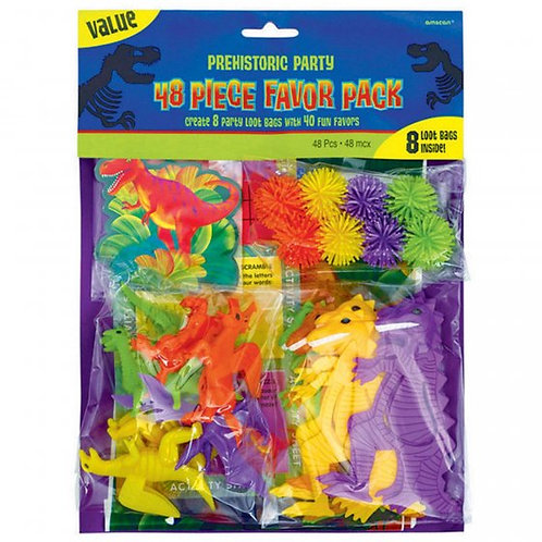 Favor Value Pack Prehistoric Dinosaur Party (Contains 8 Loot Bags and 40 Assorte