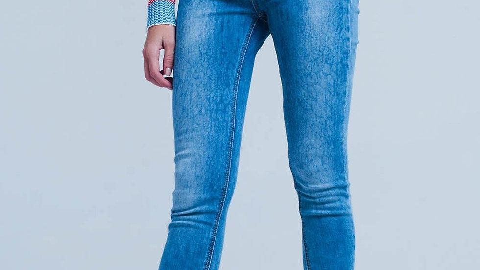 Medium Wash Skinny Jeans With Leopard Print