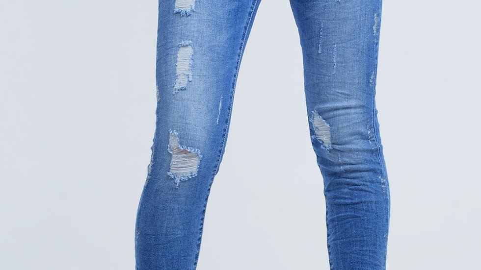 Skinny Jeans With Rips and Glitter
