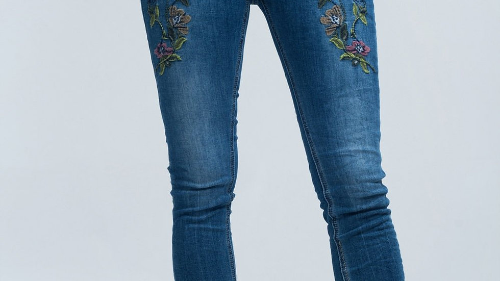 Blue Skinny Jeans With Embroideries