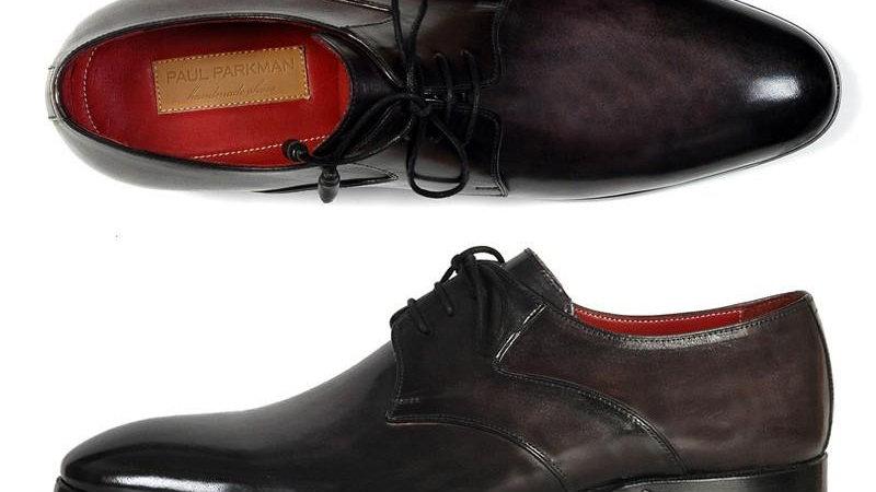 Paul Parkman Men's Anthracite Black Derby Shoes (ID#054F-ANTBLK)